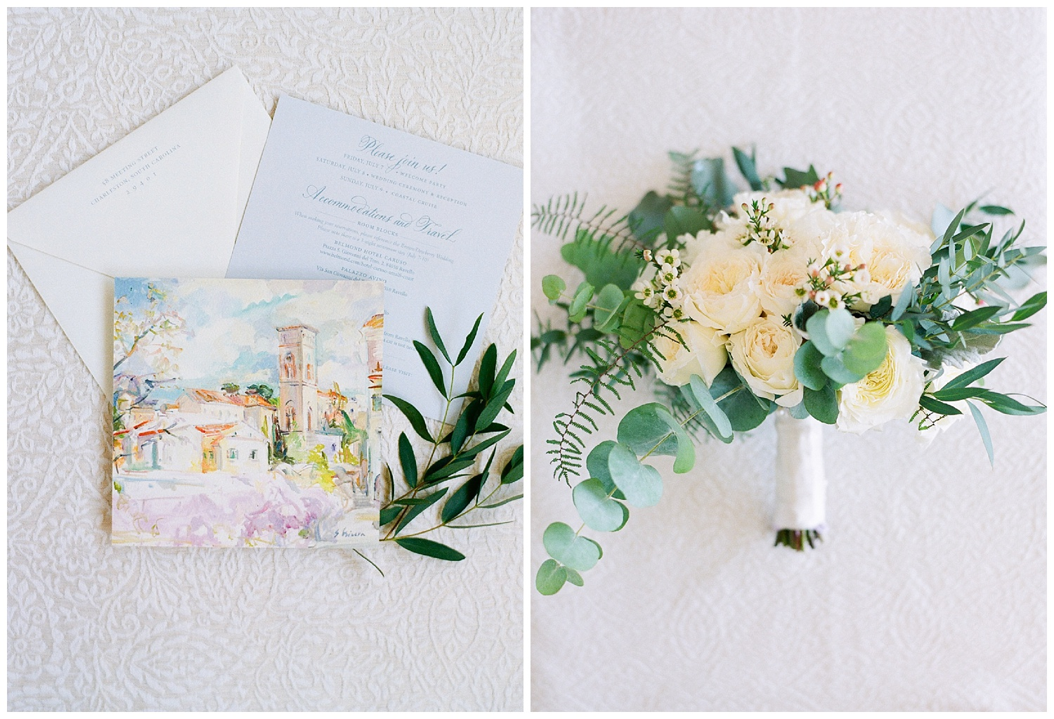 Paper suite and bouquet from an Amalfi Coast wedding; Sylvie Gil Photography