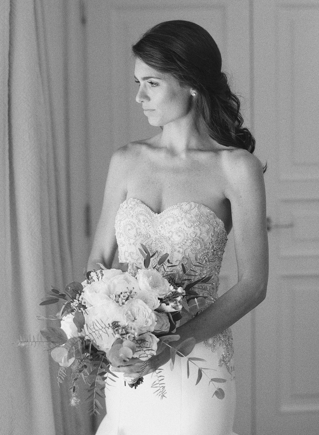 A portrait of the bride before the wedding day, black and white film; Sylvie Gil Photography