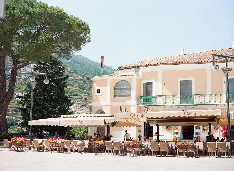 The village piazza near the wedding ceremony in the Amalfi Coast, Italy; Sylvie Gil Photography