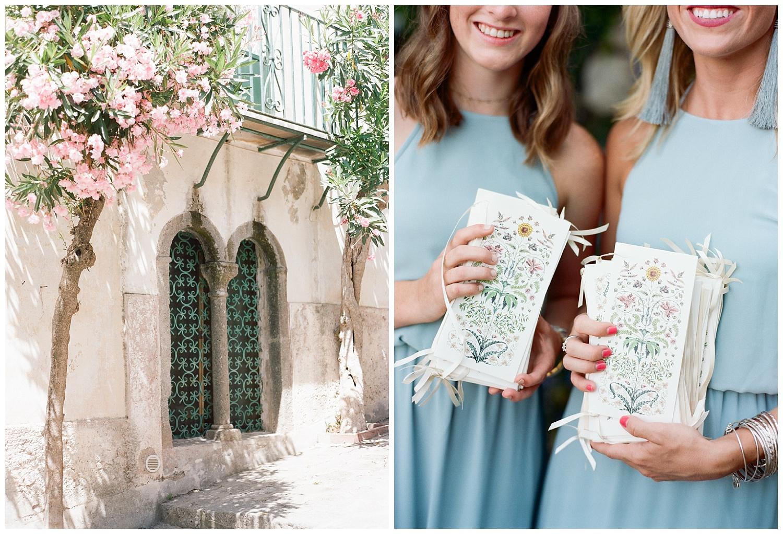 Streets of Ravello, Amalfi Coast, Italy, hand painted ceremony cards; Sylvie Gil Photography