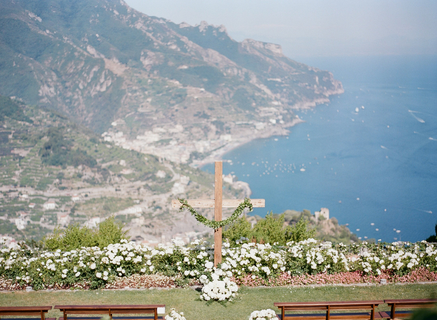 The ceremony space, above the water in Ravello, Italy; Sylvie Gil Photography
