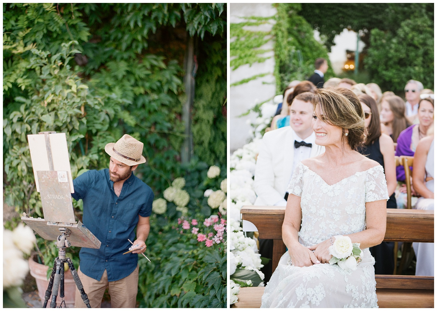 A painter at the ceremony, mother of the bride sits in a pew at the outdoor ceremony; Sylvie Gil Photography