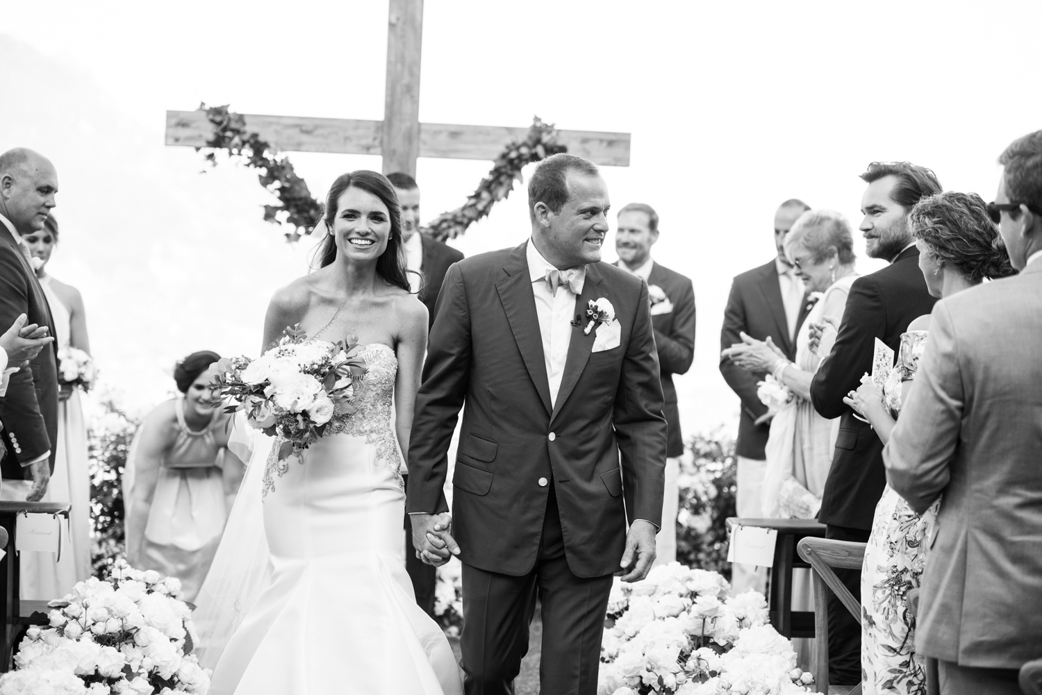 The couple just married walks back down the aisle at an Amalfi Coast wedding ceremony: Sylvie Gil Photography