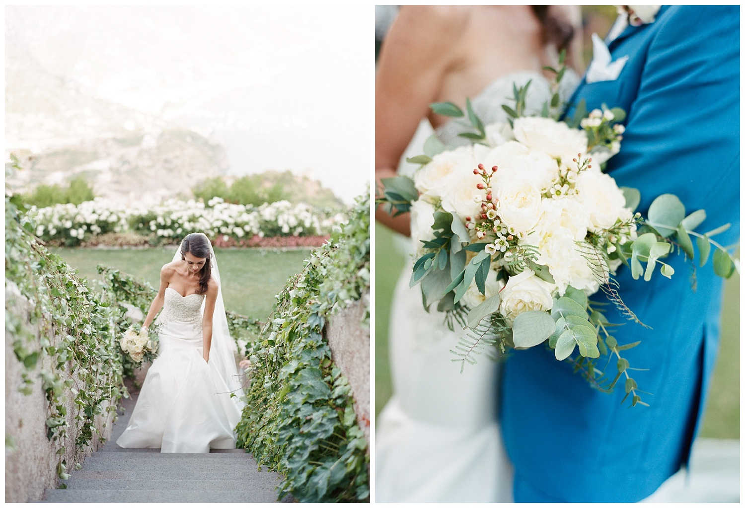 The bride walks up the stairs after the ceremony, shows off her white floral and eucalyptus bouquet; Sylvie Gil Photography