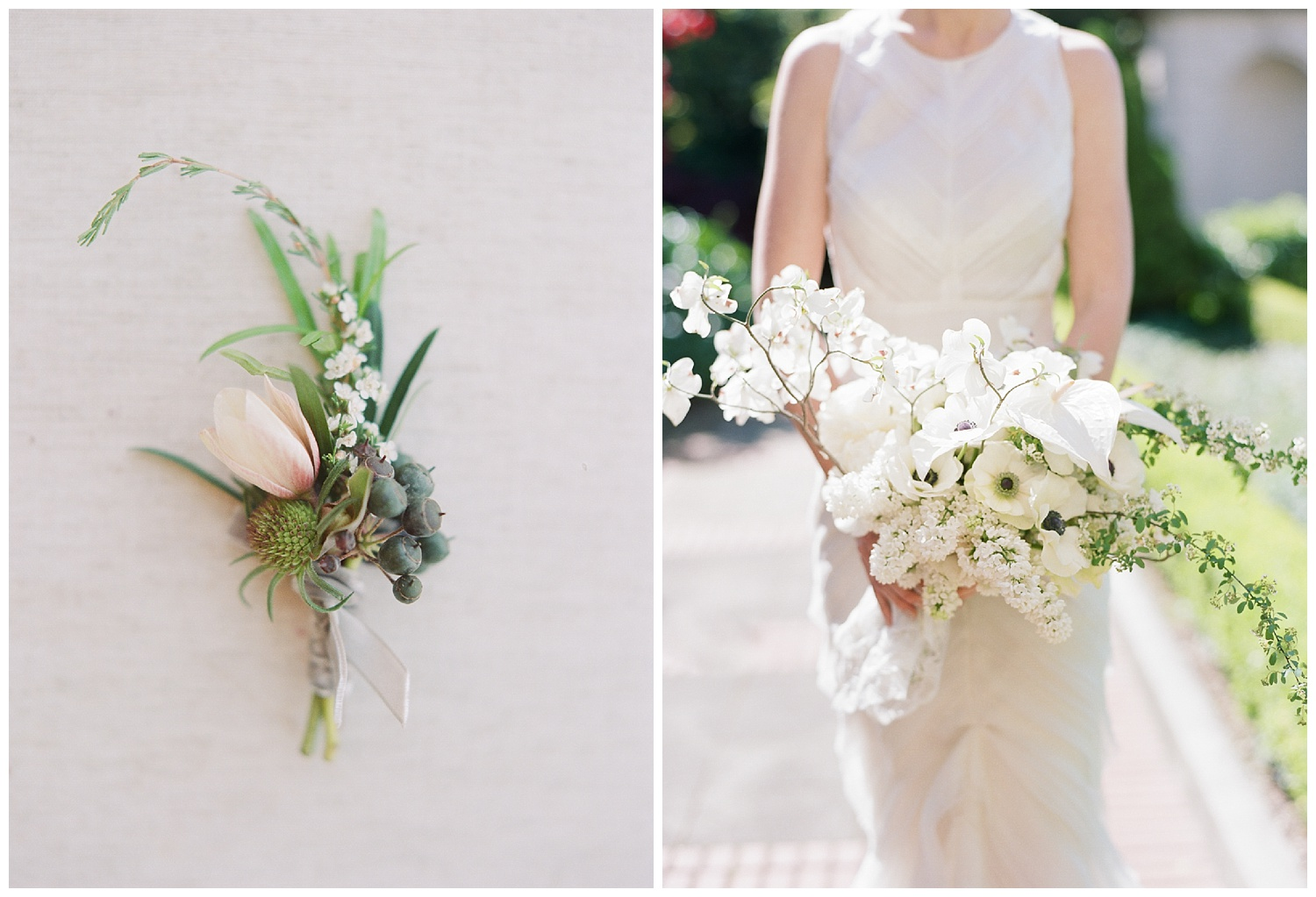Jill's modern white bouquet, filled with orchids and dogwoods; Sylvie Gil Photography