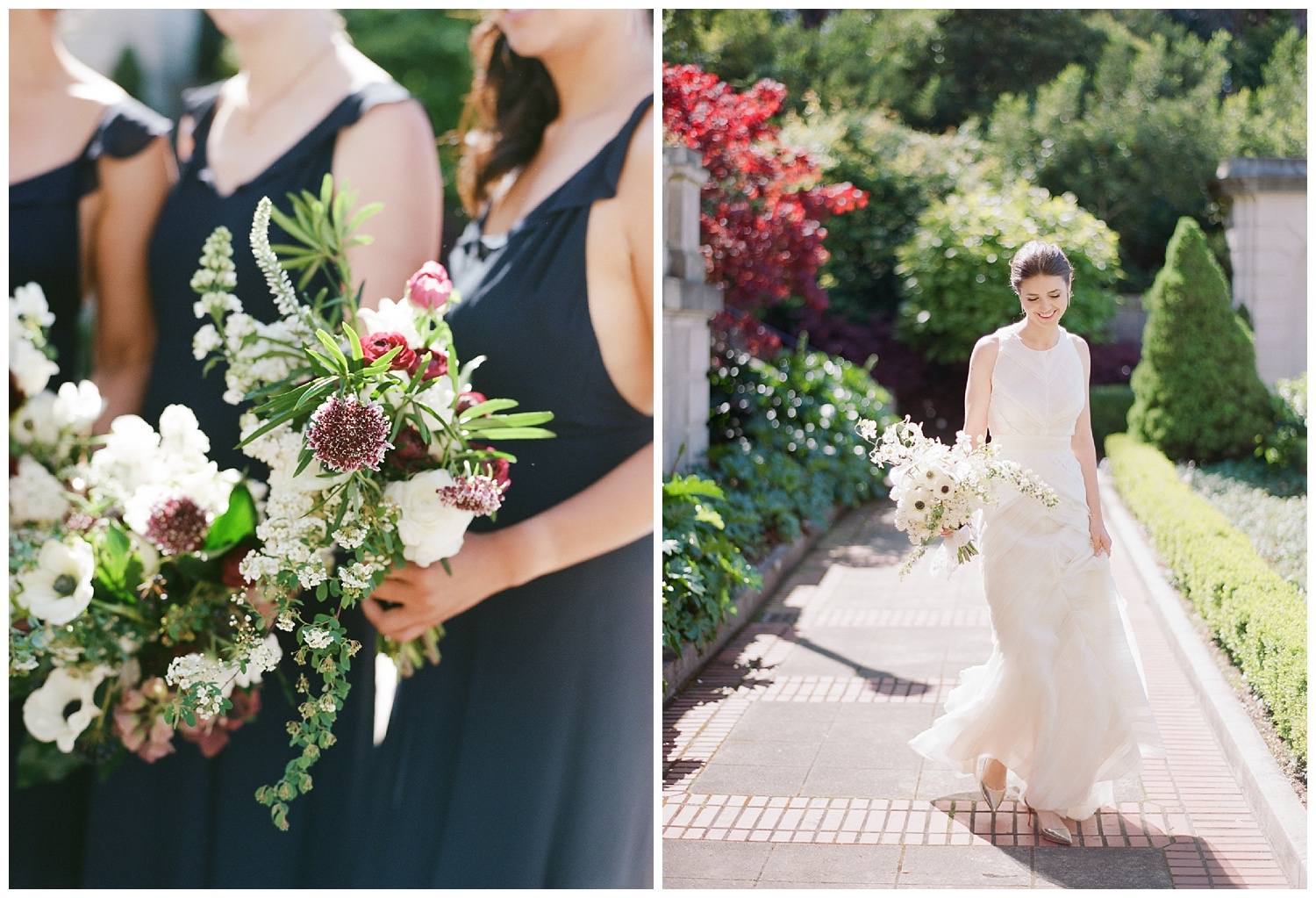 A portrait of the bride and her bridesmaids at Lyon Steps in San Francisco before the wedding; Sylvie Gil Photography