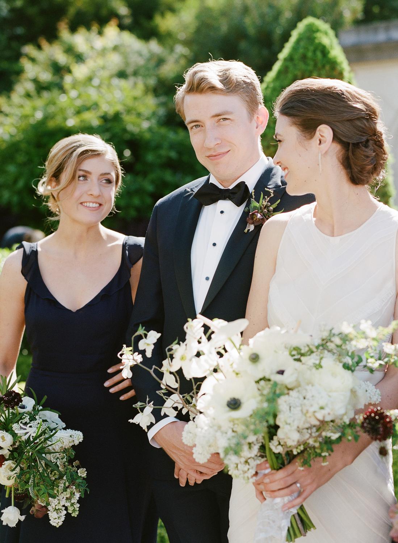 The bridesmaids and bridesman at Lyon Steps before the wedding; Sylvie Gil Photography
