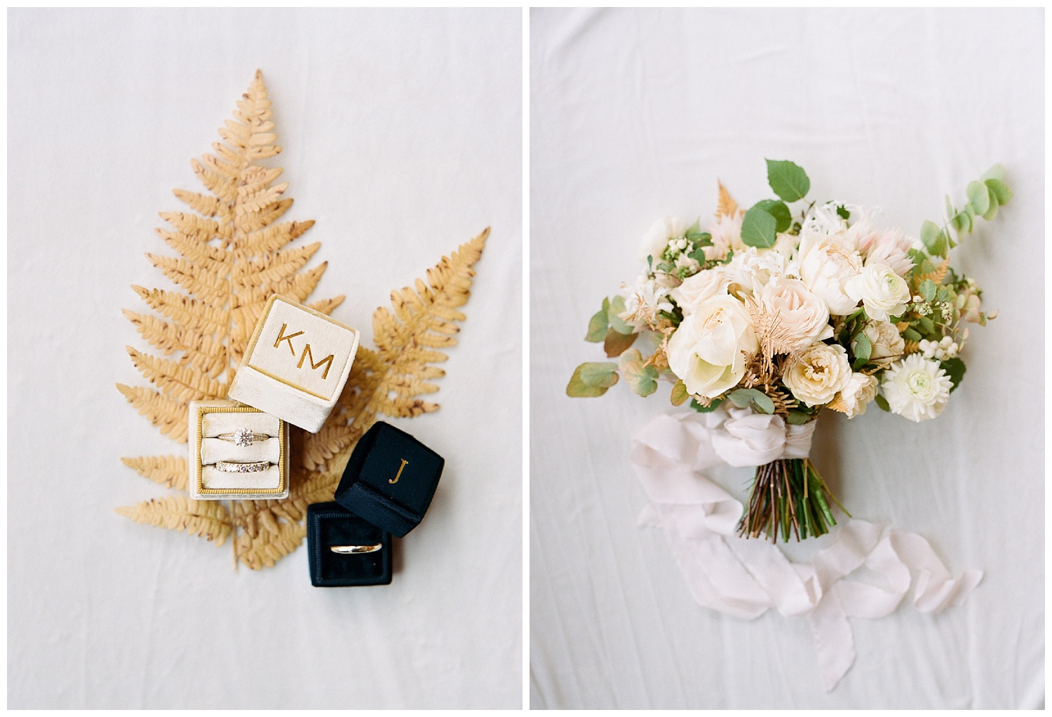 Bride and groom rings and bride's blush bouquet, framed by golden fern leaves; Sylvie Gil Photography