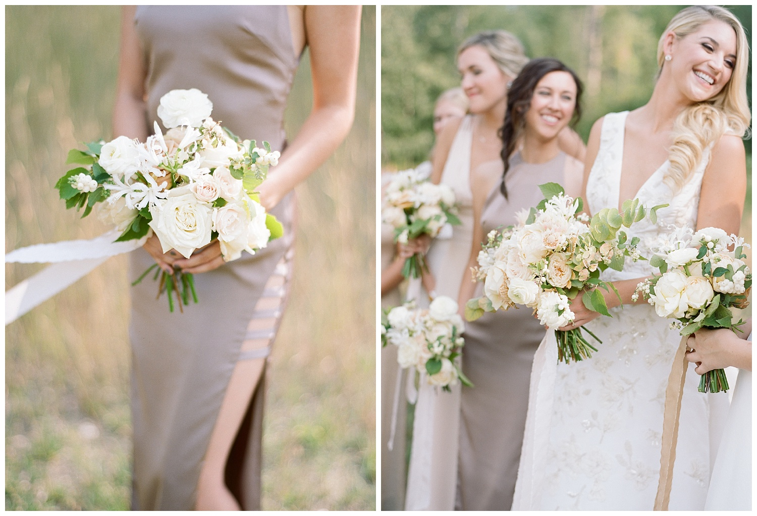 Tan and beige bridesmaids' gowns; Sylvie Gil Photography