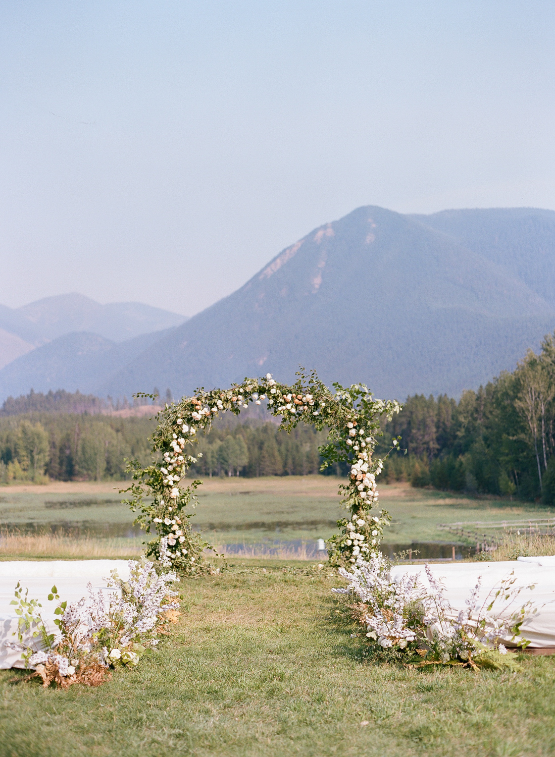 The ceremony arbor, set up in the foothills of Glacier National Park; Sylvie Gil Photography