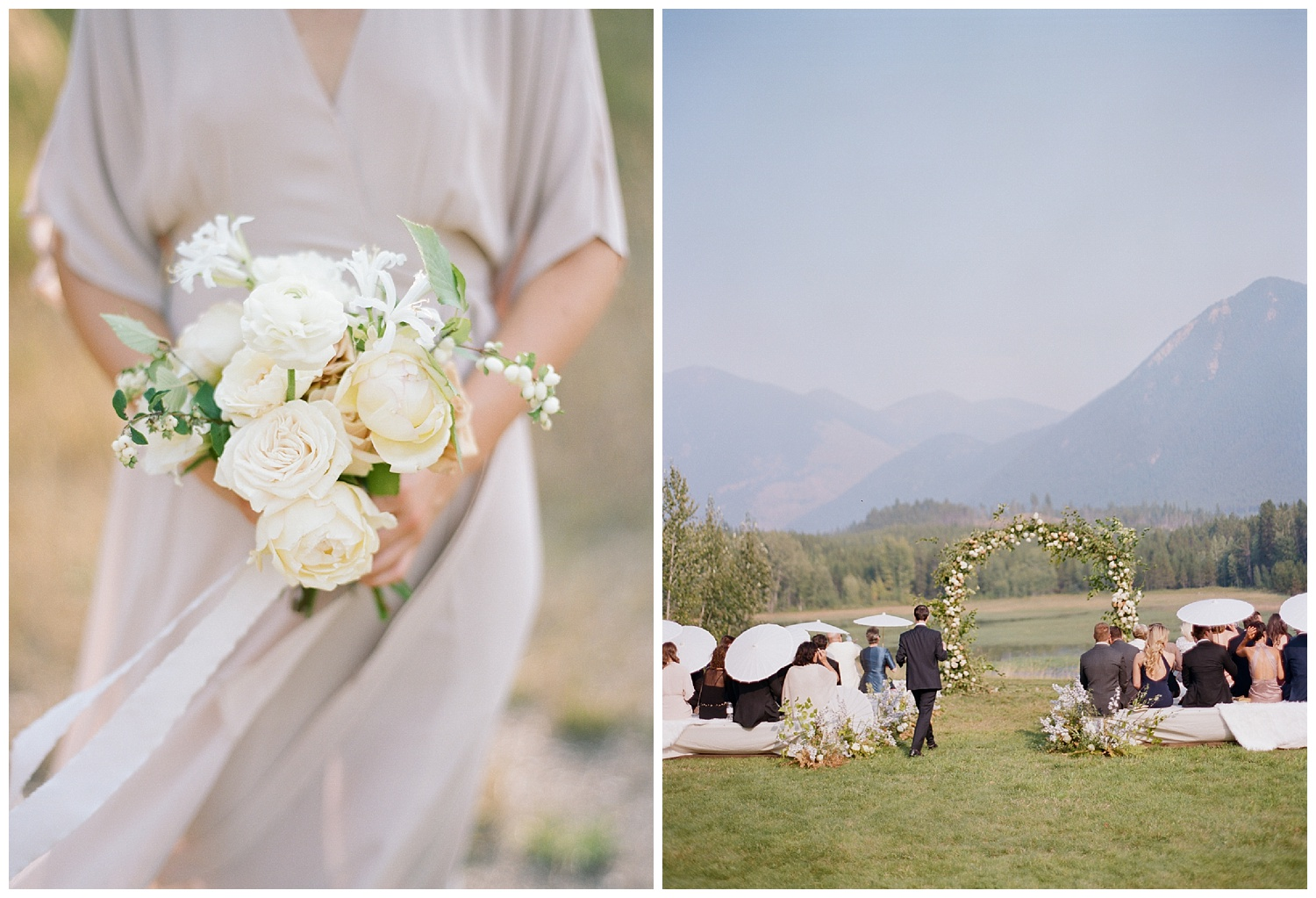 Guests with parasols arrive for the Glacier National Park wedding ceremony; Sylvie Gil Photography
