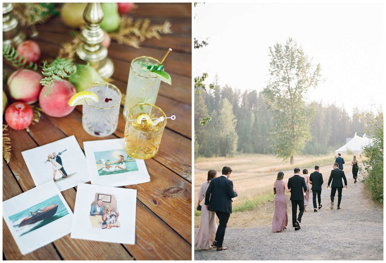 Custom designed napkins with Vogue-style illustrations of the couple at the reception; Sylvie Gil Photography