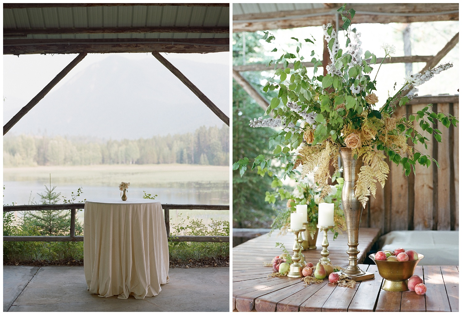 Gold fern florals set at the wedding reception lodge in Whitefish, Montana; Sylvie Gil Photography