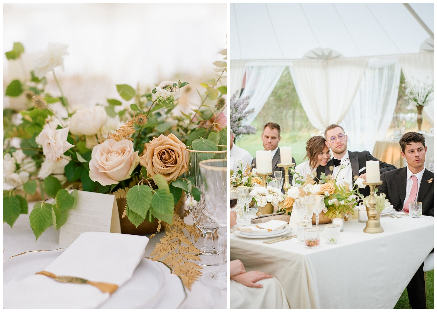 Gold roses and ferns decorate wedding reception tables in Whitefish, Montana; Sylvie Gil Photography