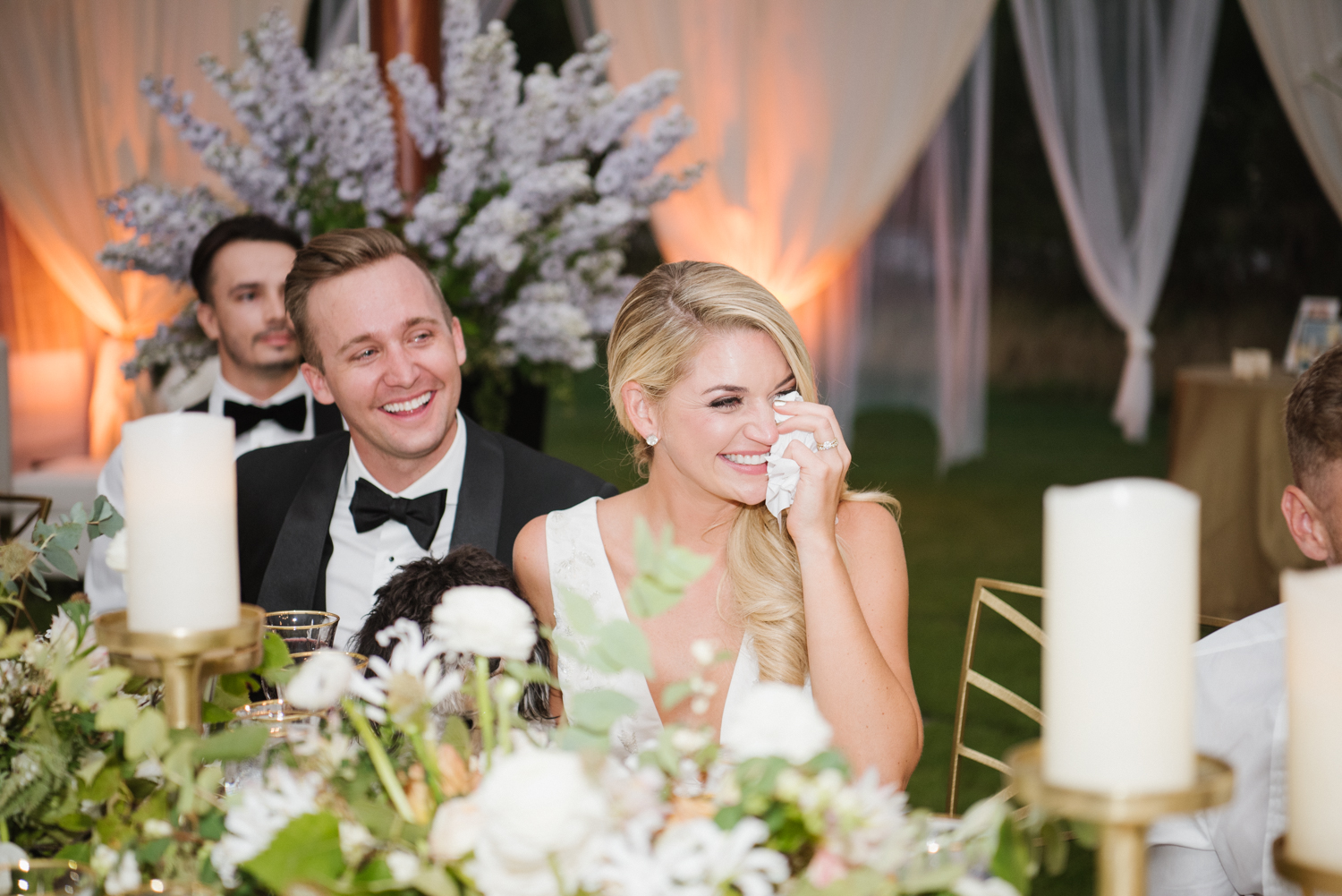 The couple tears up during toasts at their wedding reception in Whitefish, Montana