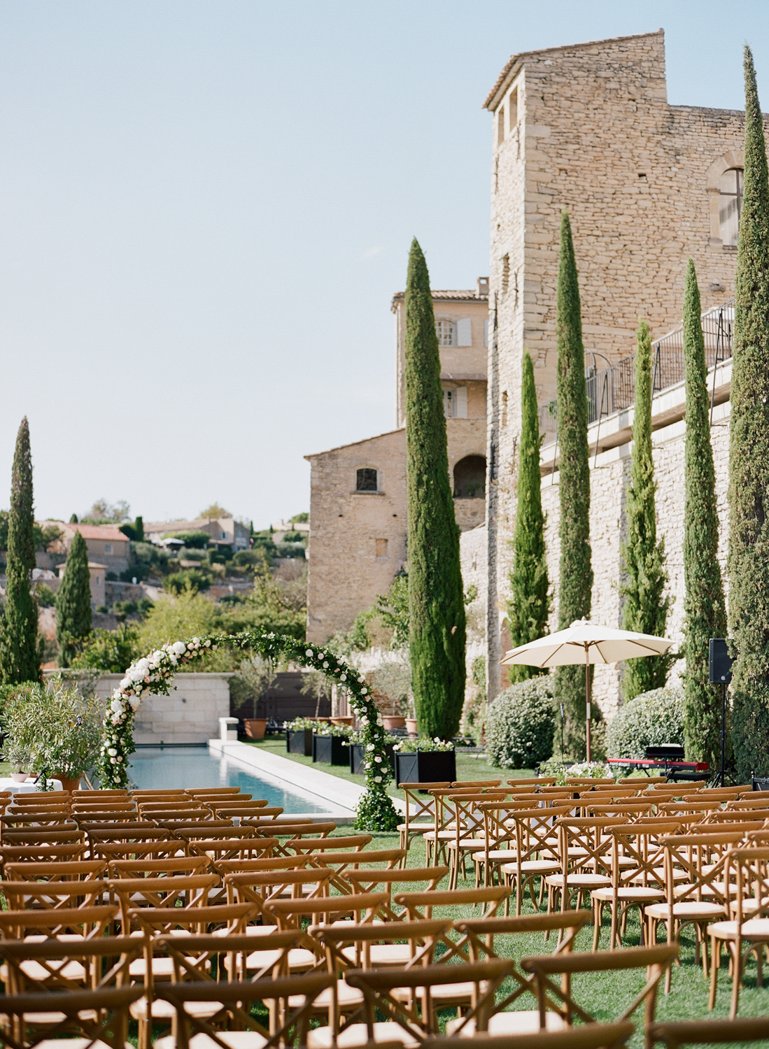 A wedding ceremony space in Gordes, France; Sylvie Gil Photography