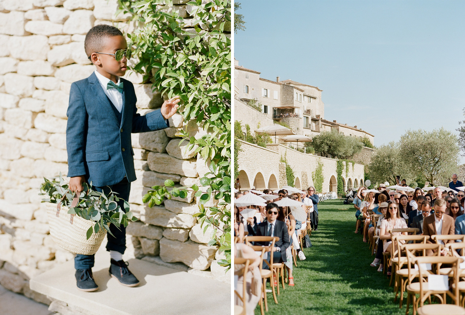 A ringbearer waits at the Gordes chateau for the ceremony to begin; Sylvie Gil Photography