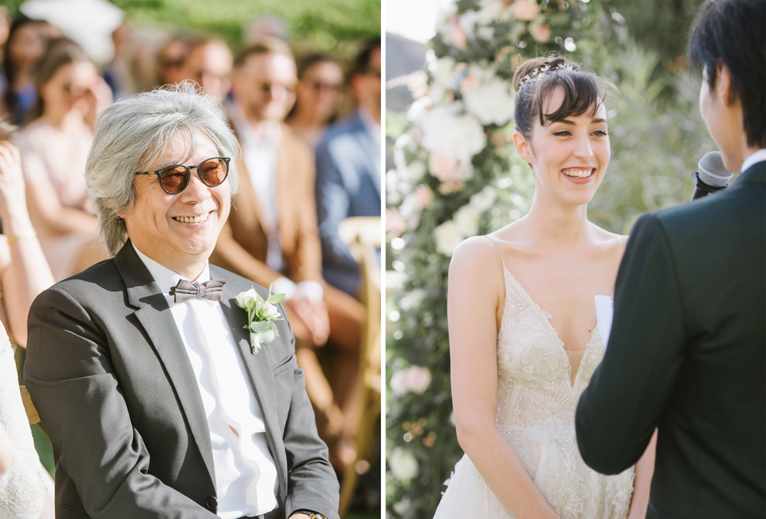 Bride and groom exchange vows under a floral arch in Gordes, France; Sylvie Gil Photography