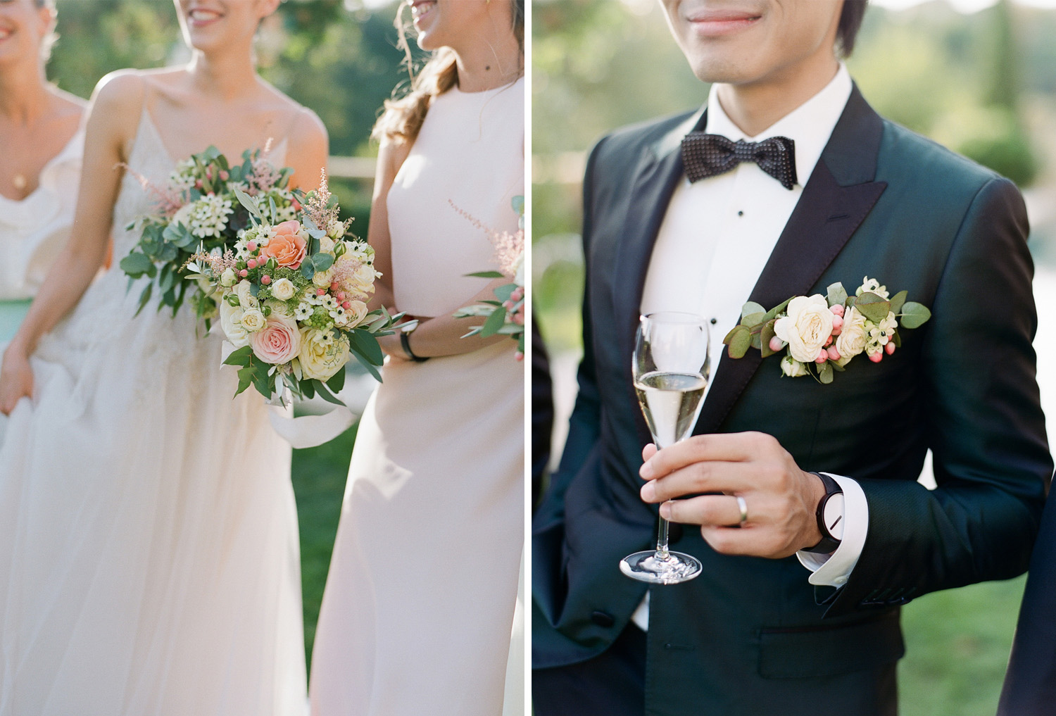 Bridesmaids bouquets and groom's boutonniere with matching rosebuds and eucalyptus leaves; Sylvie Gil Photography