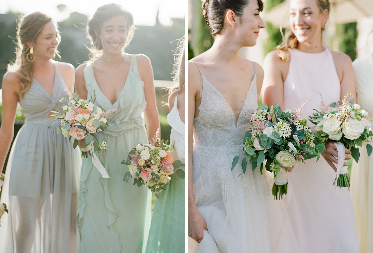 Pastel bridesmaids gowns and matching floral bouquets; Sylvie Gil Photography