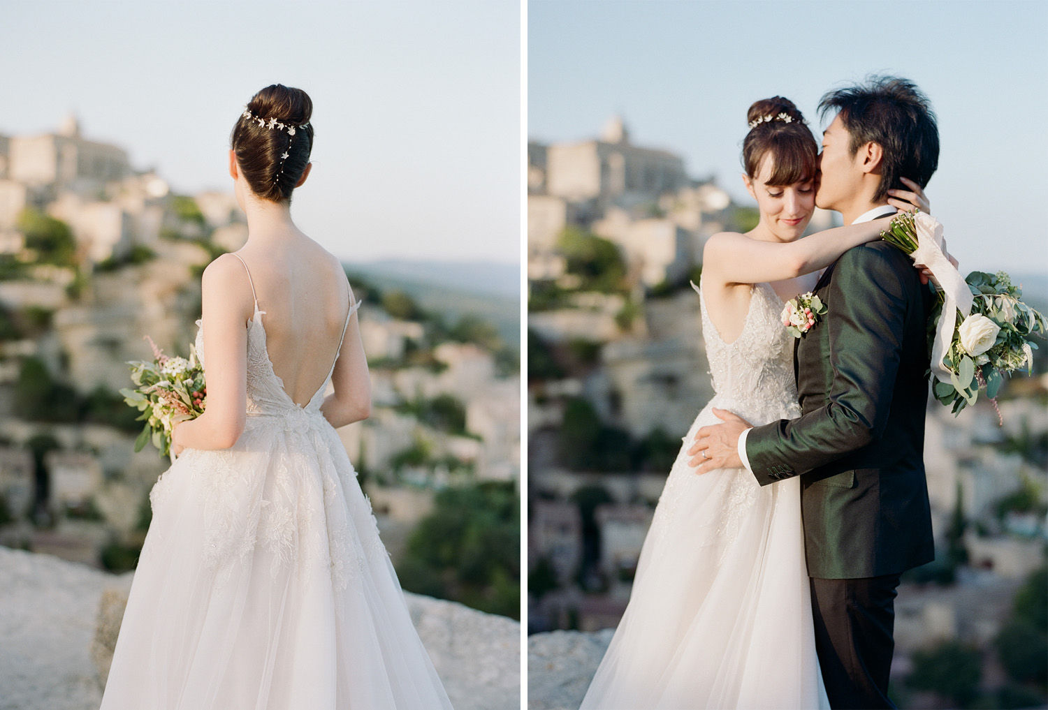 Bride and groom look out over Gordes, France at sunset; Sylvie Gil Photography