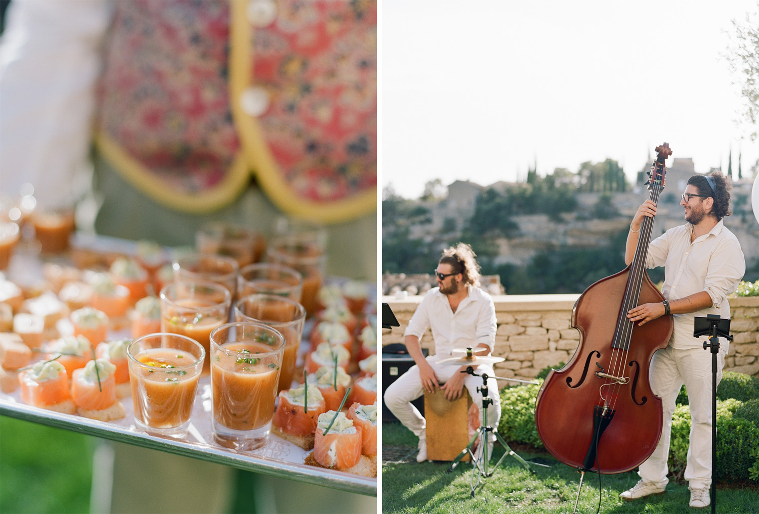 Cocktails and musicians at the wedding reception at a chateau in Gordes, France; Sylvie Gil Photography