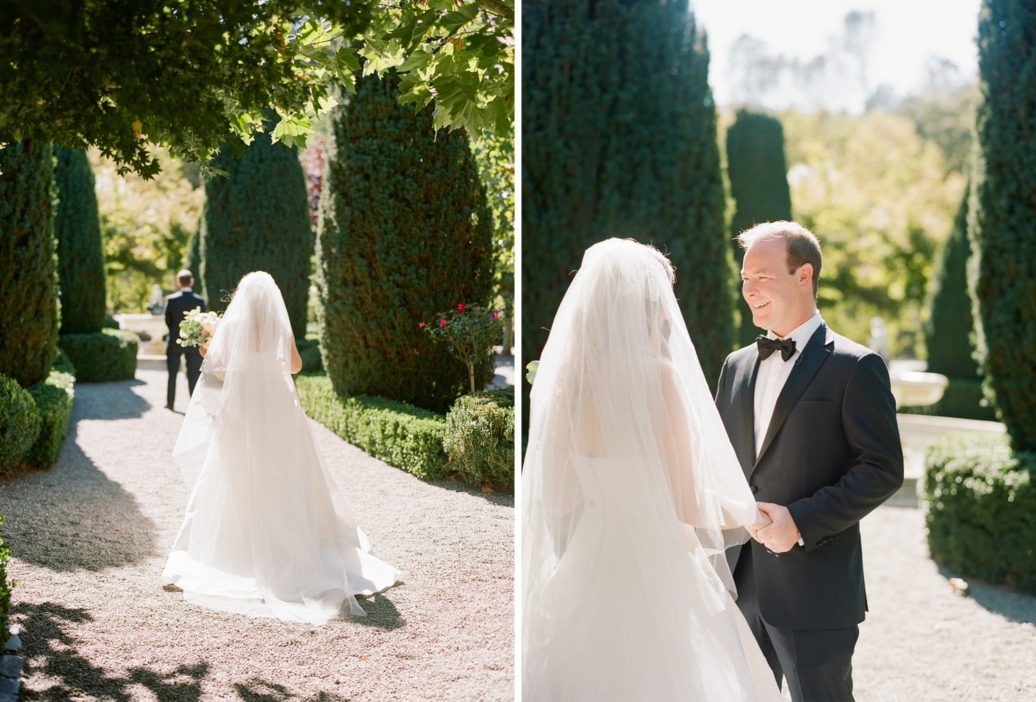 Bride and groom have their first look at Bealieu Gardens in St. Helena; Sylvie Gil Photography