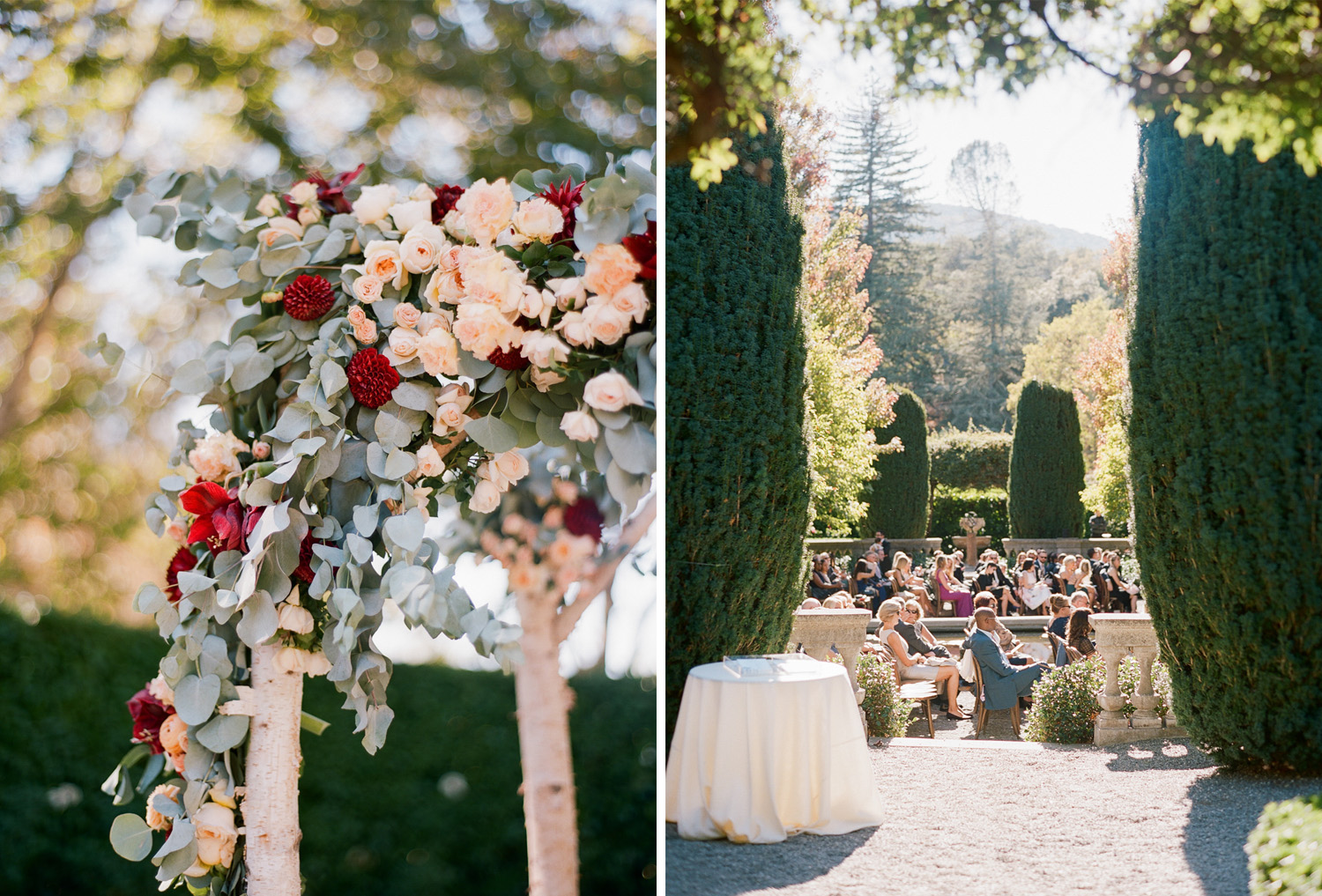 Romantic floral decorate a birch arbor at Beaulieu Gardens in St. Helena wine country; Sylvie Gil Photography