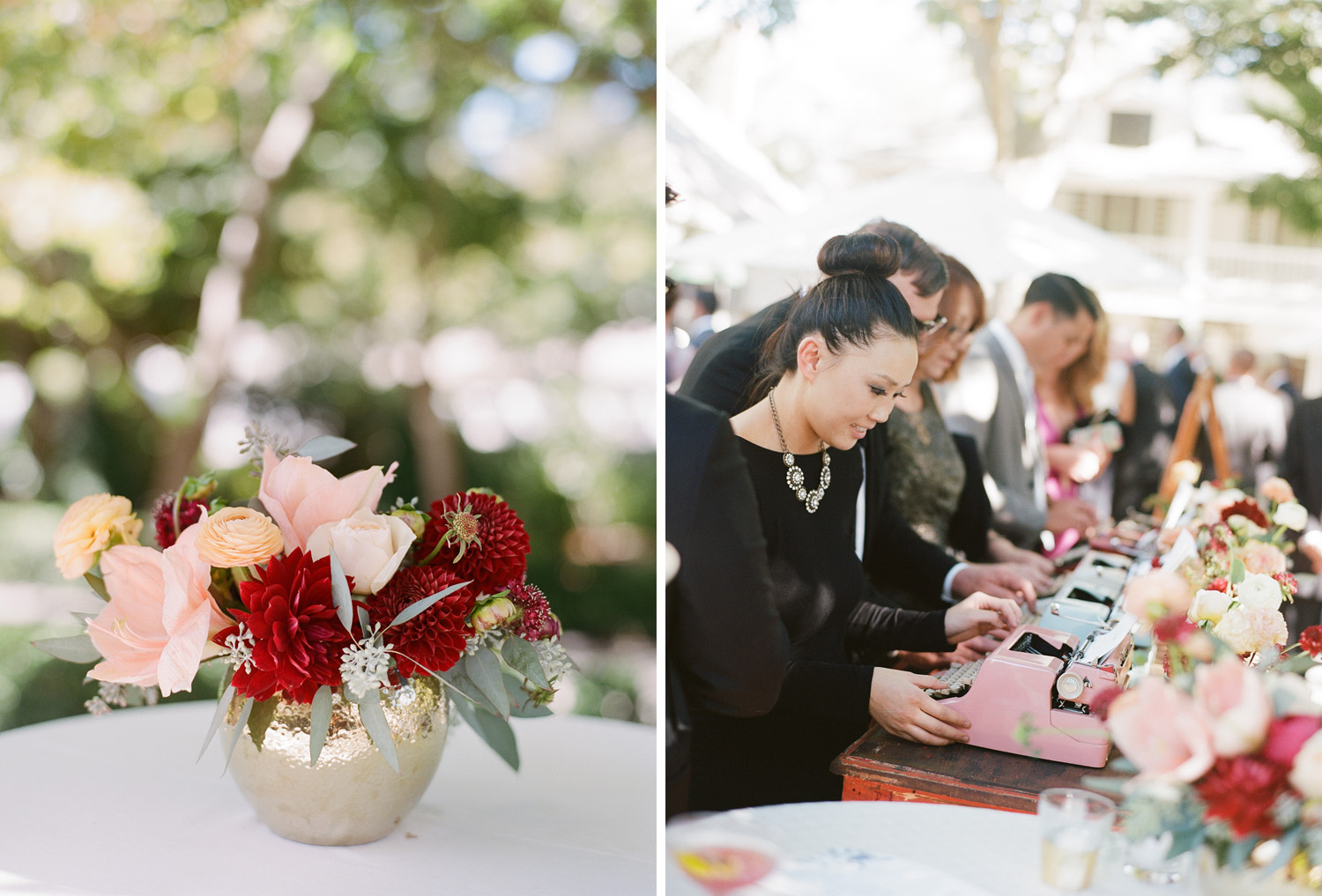 Romantic hibiscus and dahlia floral decorate reception tables; Sylvie Gil Photography