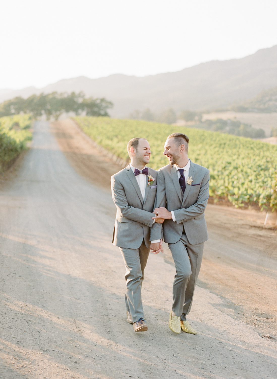 Couple session at sunset after a wedding at Kunde Winery; Sylvie Gil Photography