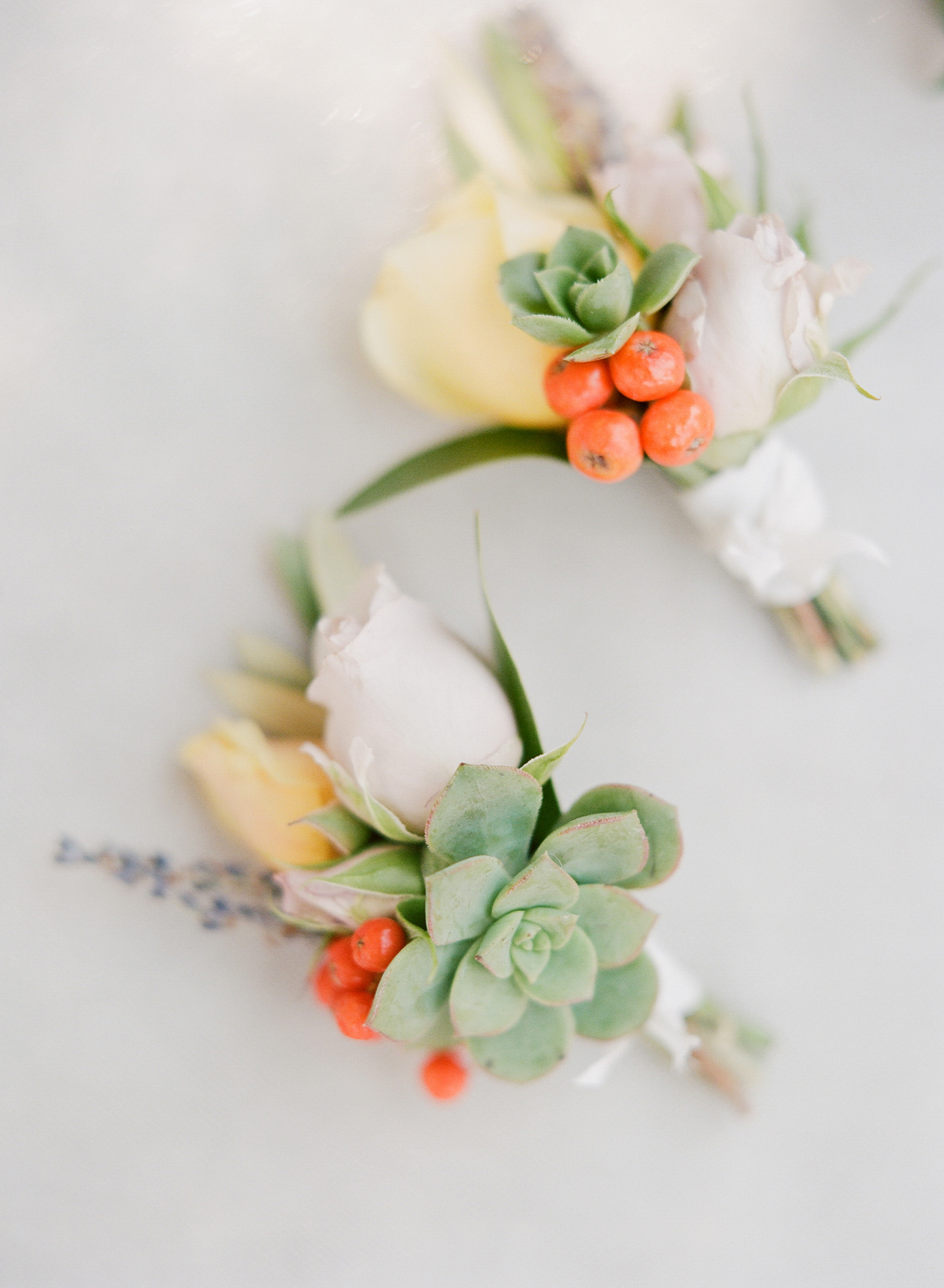 Succulent boutonnieres for both grooms; Sylvie Gil Photography