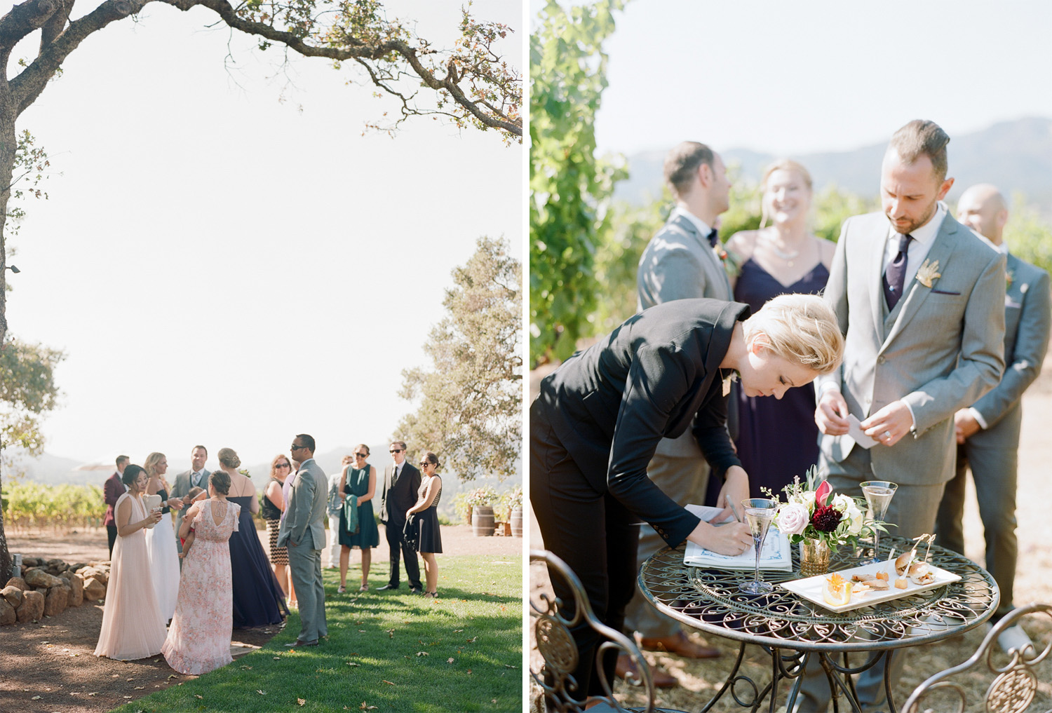 Guests mingle over cocktails at Kunde Winery, officiant signs the couple's marriage certificates; Sylvie Gil Photography