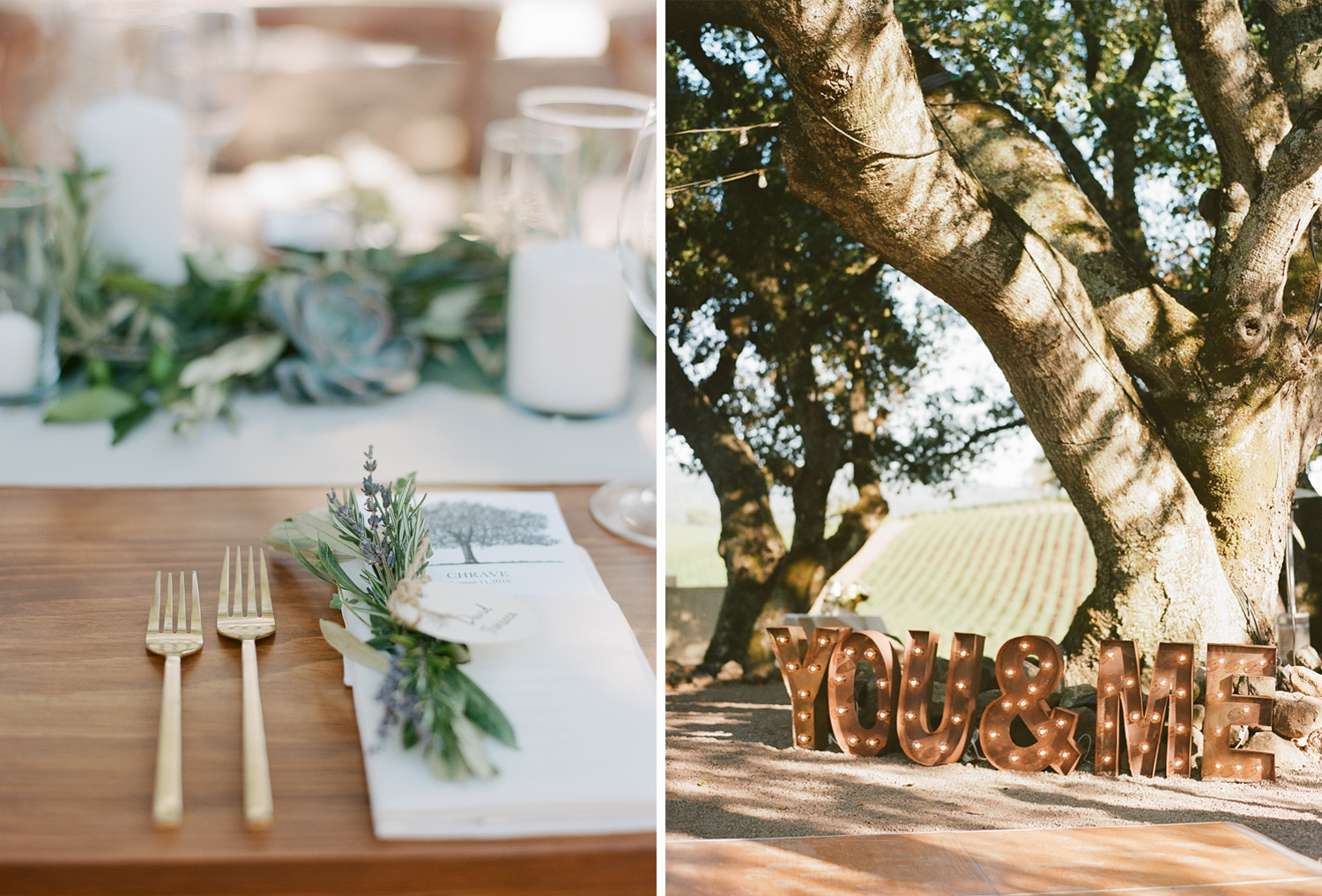 """Table settings and a decorative marquee reading """"YOU & ME"""" at a Kunde Winery wedding in Napa Valley; Sylvie Gil Photography"""