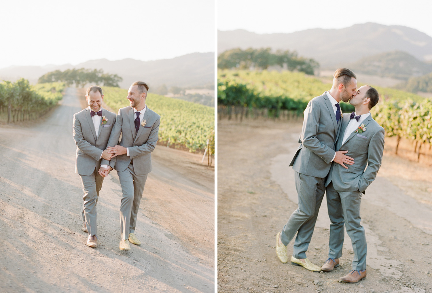 A couple session at sunset in the vineyards of Kunde Winery after the wedding; Sylvie Gil Photography