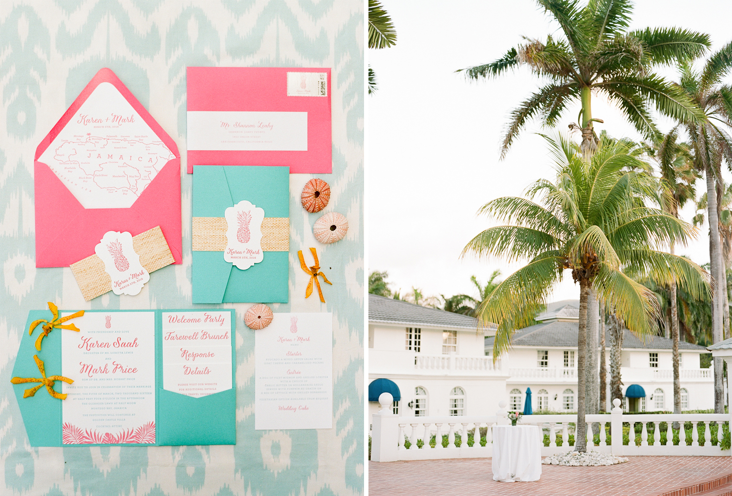 Ikat invitation suite with tropical colors to match the Jamaican venue; Sylvie Gil Photography