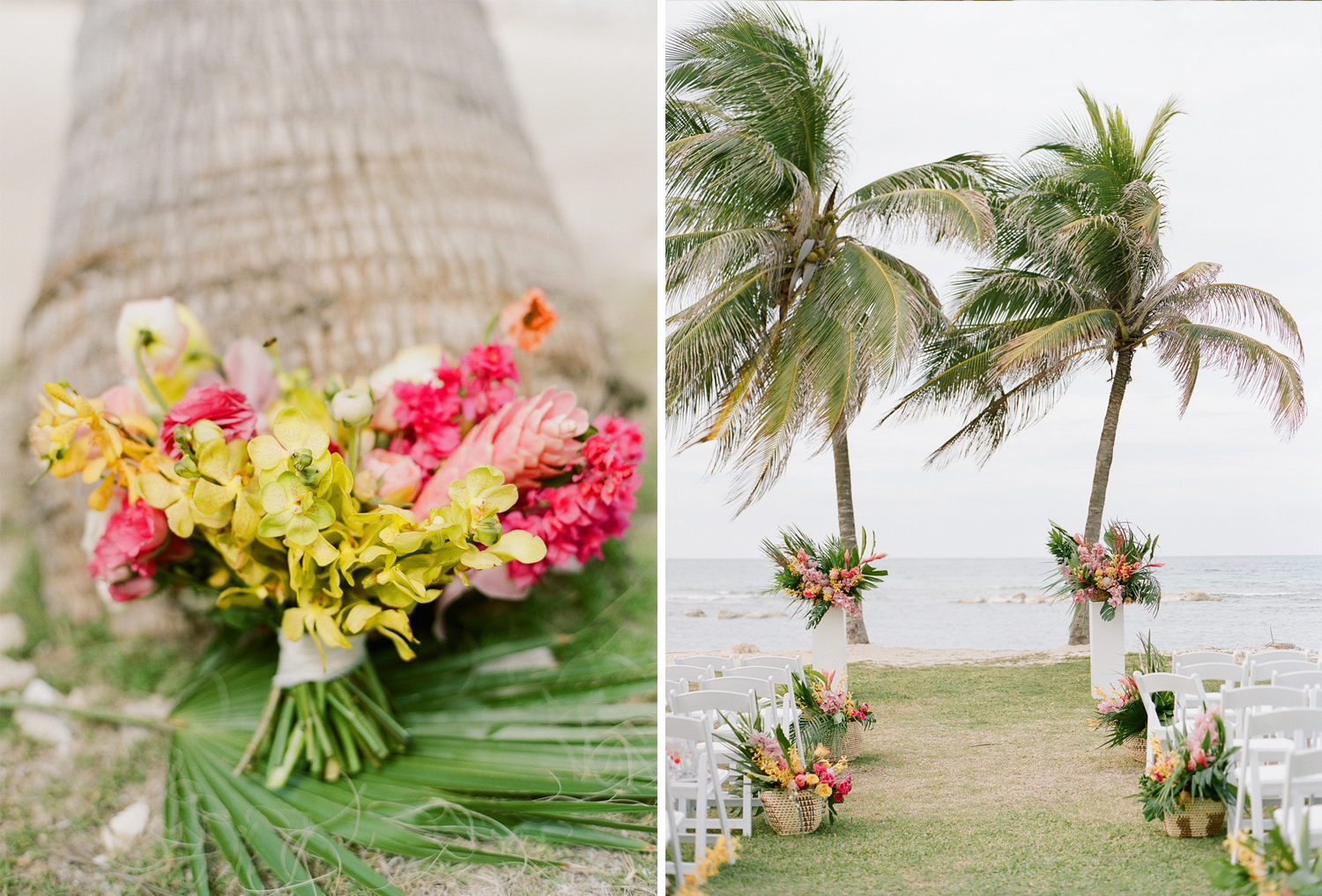 Tropical pink and yellow blooms at a Jamaican beach wedding; Sylvie Gil Photography