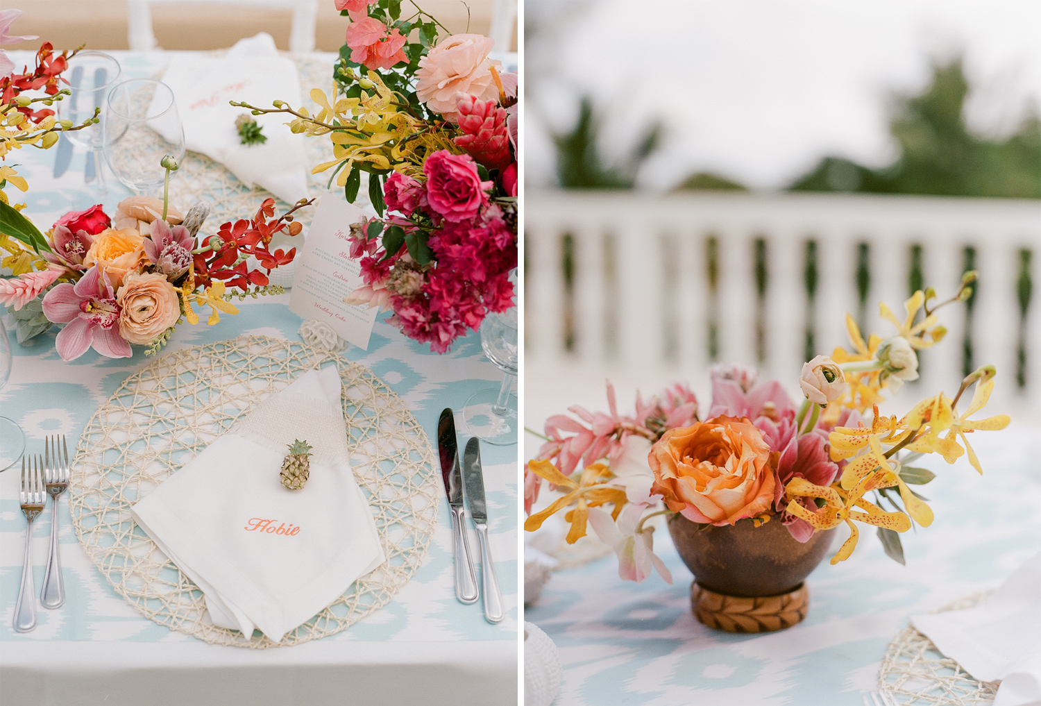 Wicker placemats and tropical blooms on an ikat tablecloth - a Montego Bay wedding reception; Sylvie Gil Photography