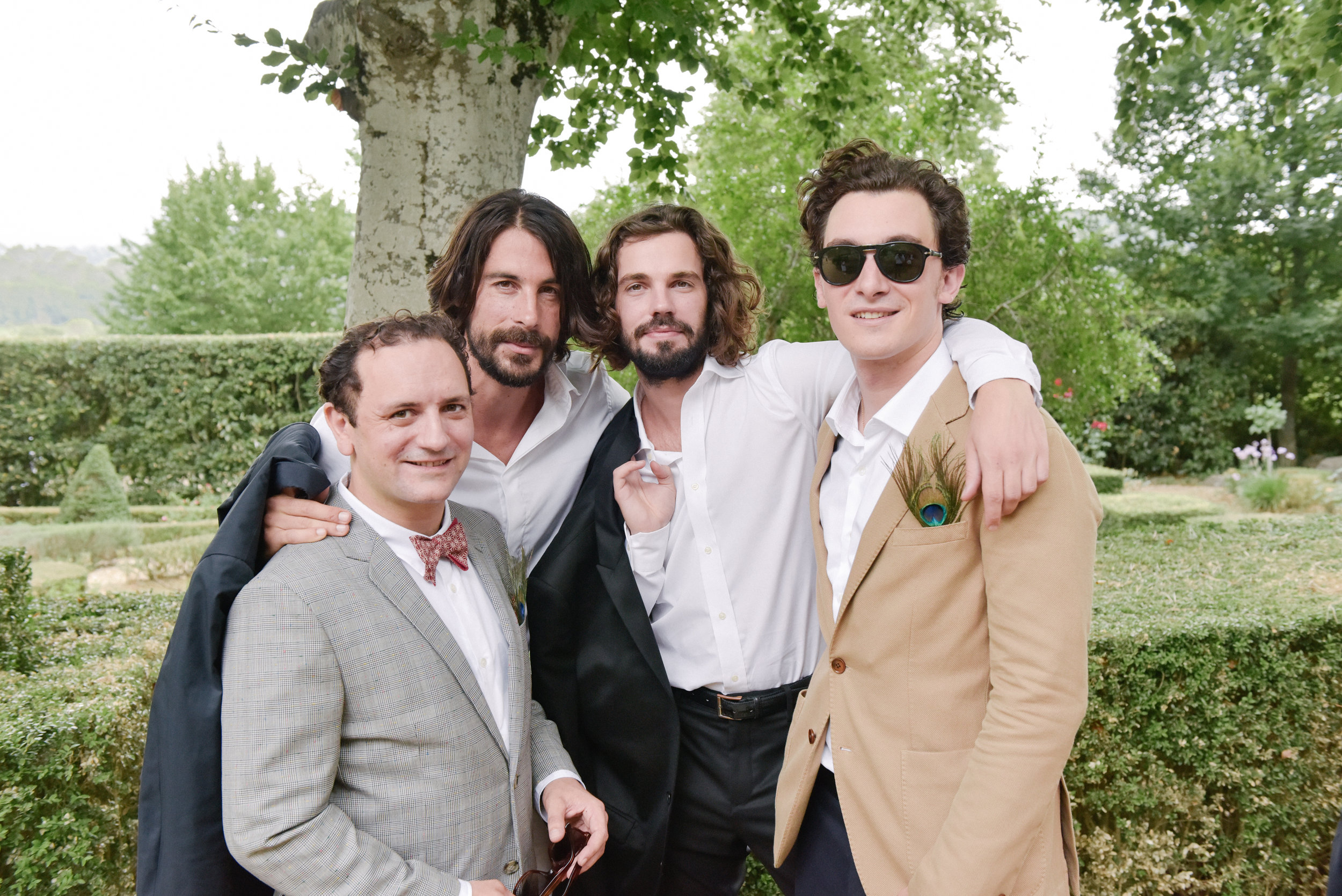 Groomsmen arrive at the ceremony in Provence, France; Sylvie Gil Photography