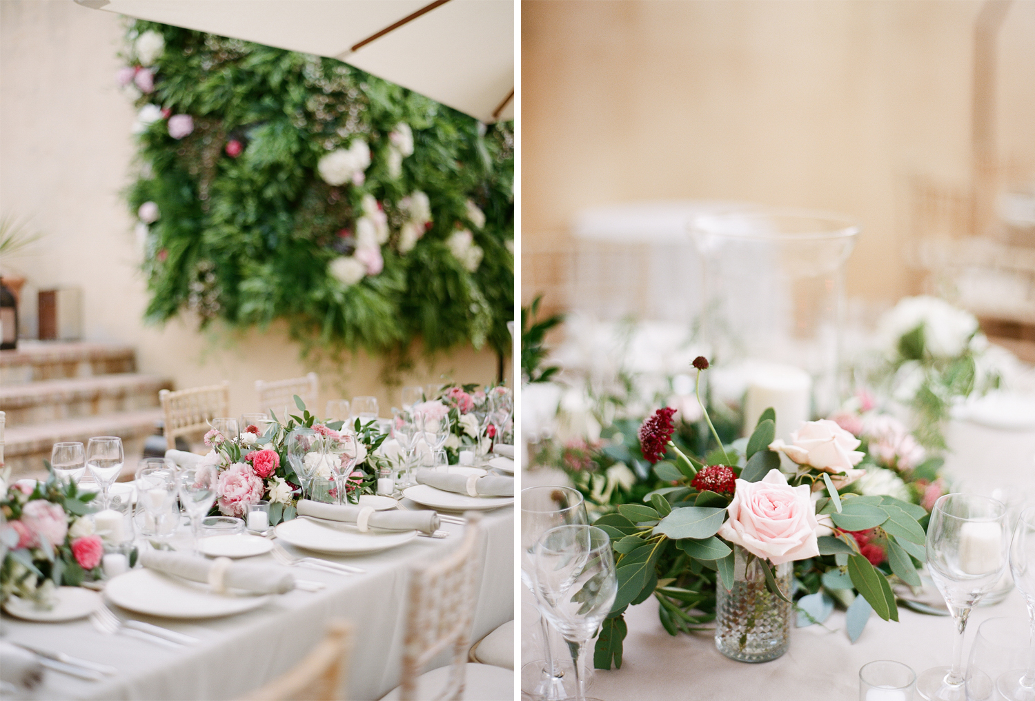 Reception floral arrangements in blush and burgundy for a ceremony in Provence, France; Sylvie Gil Photography