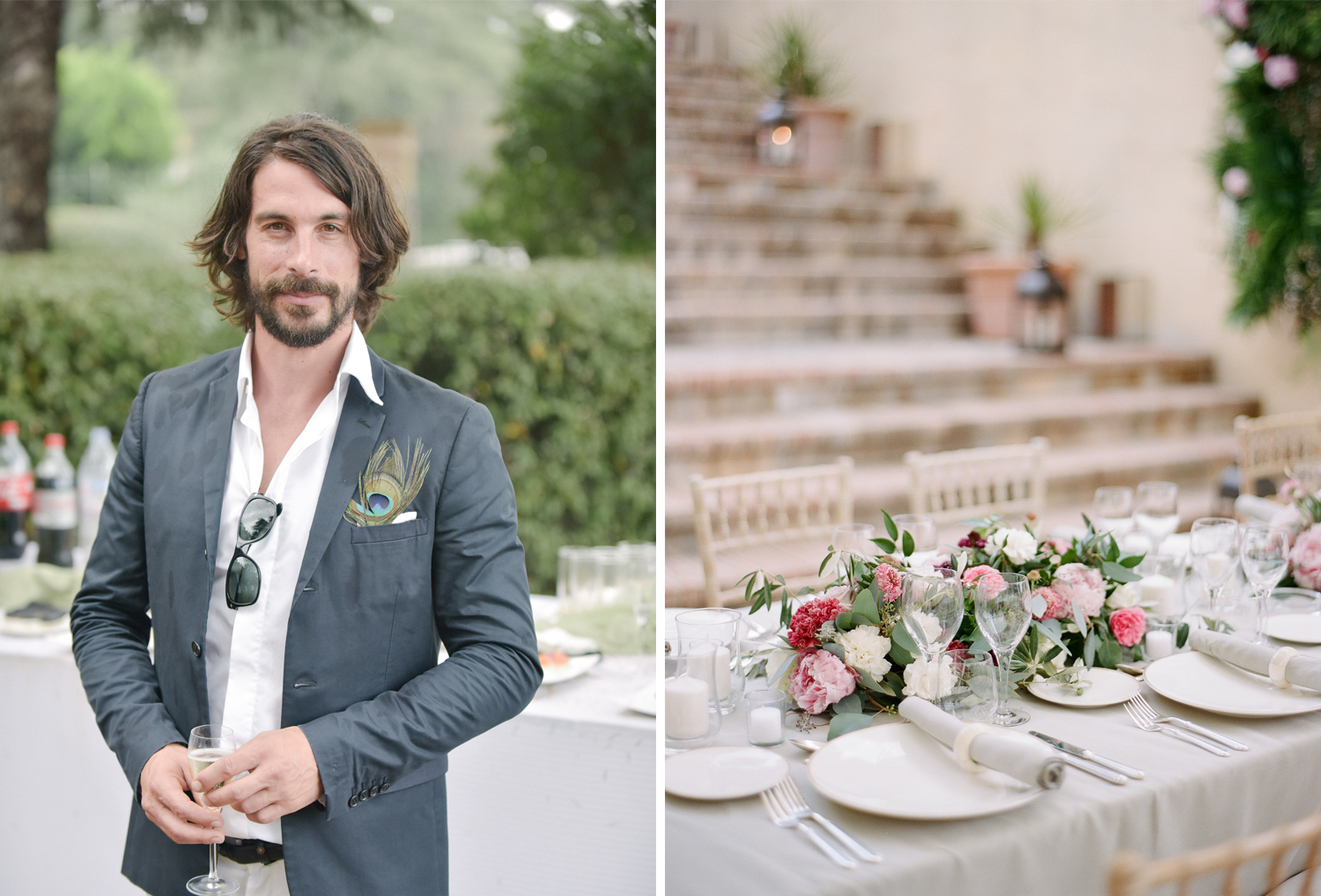 Groomsman with a peacock boutonniere at the wedding reception in Provence, France; Sylvie Gil Photography
