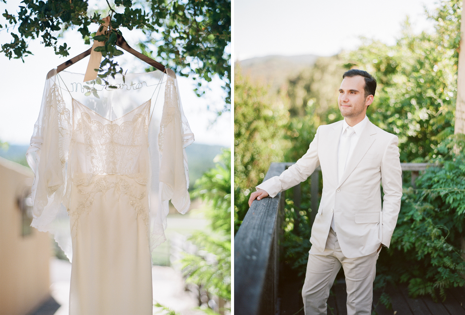 The bride's gown hangs in a tree on the Santa Lucia Preserve in Carmel; Sylvie Gil Photography
