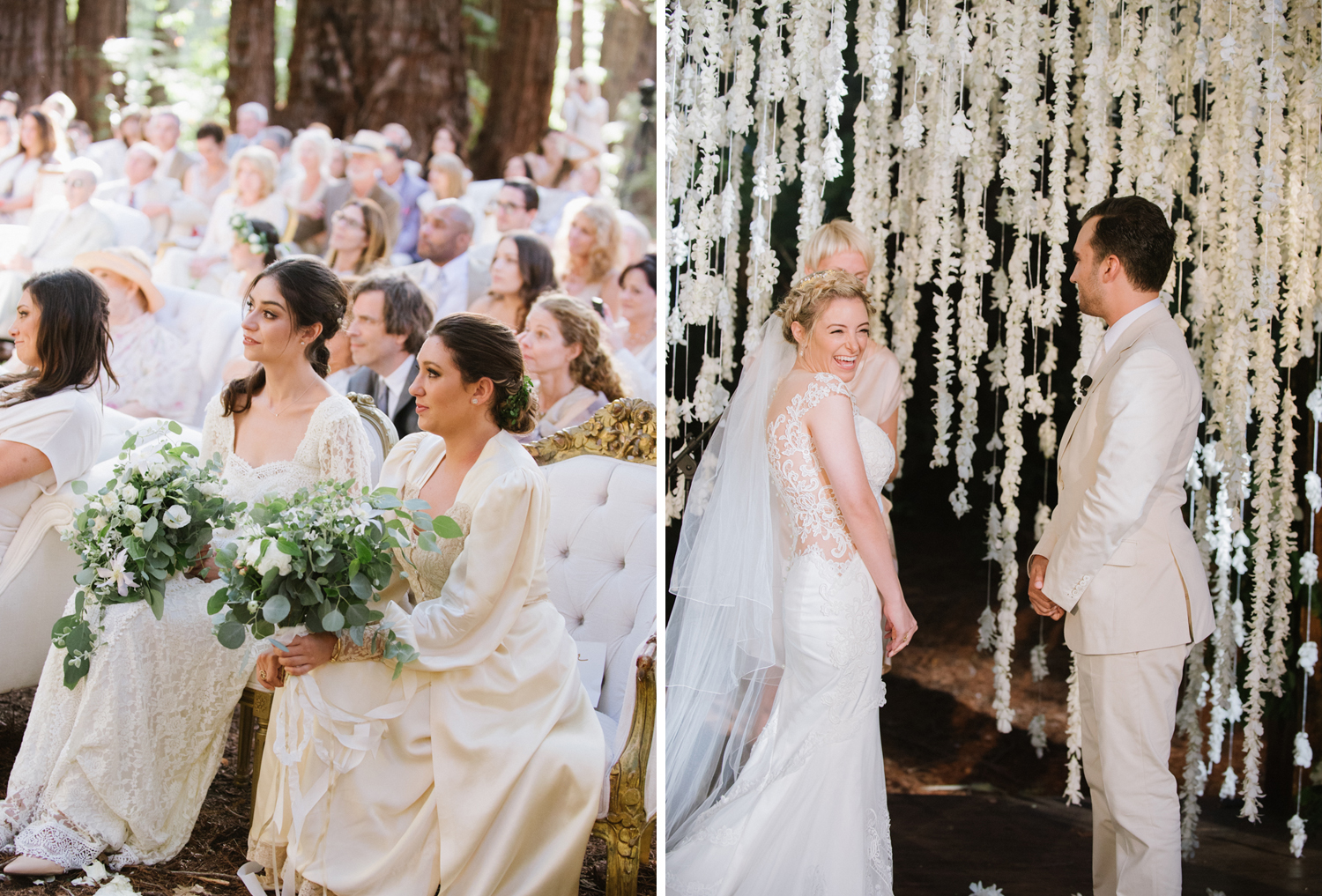 A wedding ceremony among the central coast redwoods at the Santa Lucia Preserve in Carmel, California; Sylvie Gil Photography