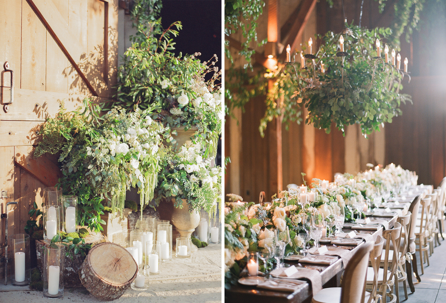 Cut logs, pillar candles, and rustic leafy arrangements decorate the barn reception at Santa Lucia Preserve; Sylvie Gil Photography