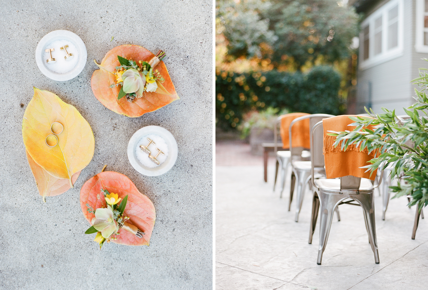 Autumn backdrop for cufflinks and rings for a St. Helena wedding; Sylvie Gil Photography