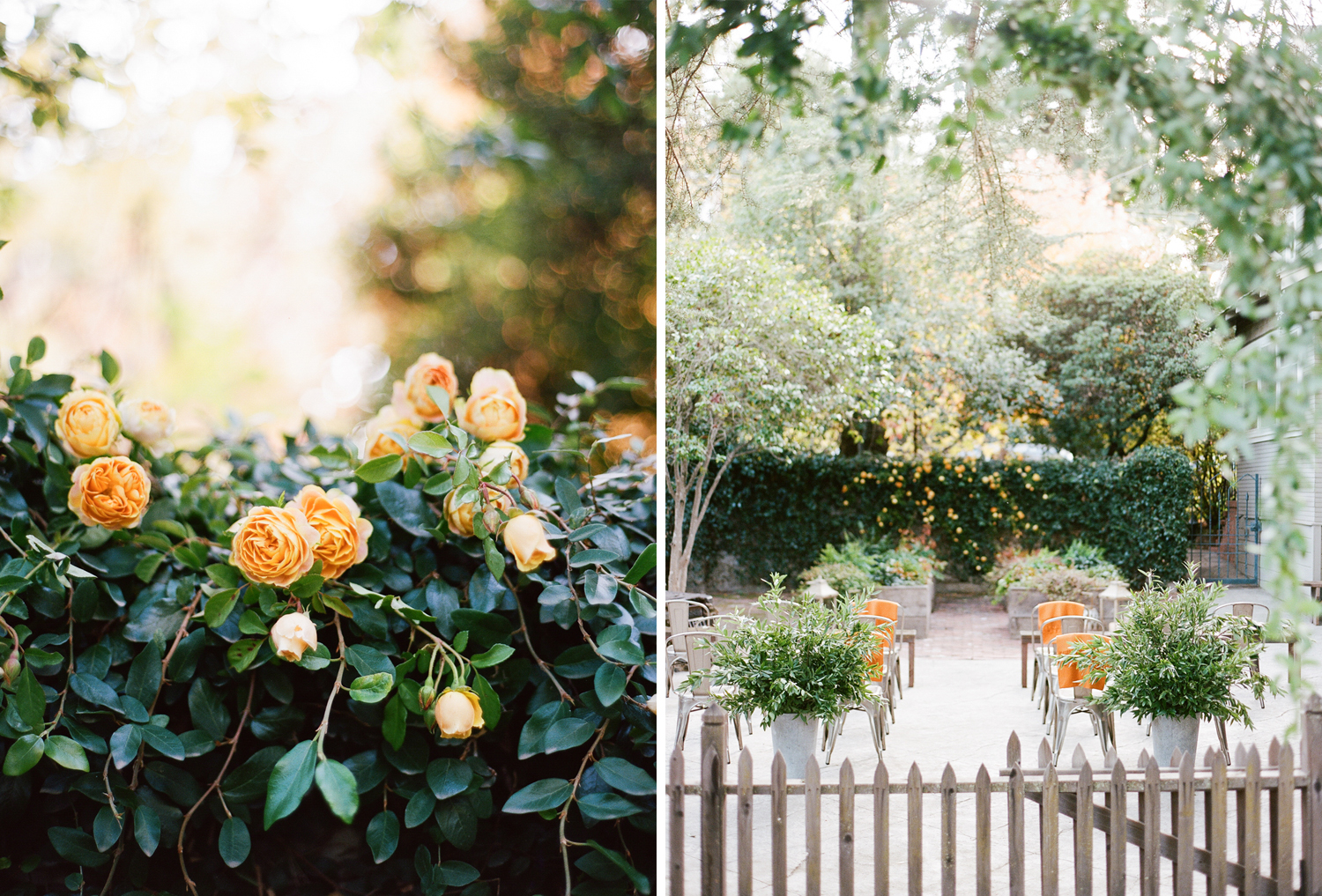 Orange roses decorate the ceremony space, florals by Max Gill; Sylvie Gil Photography