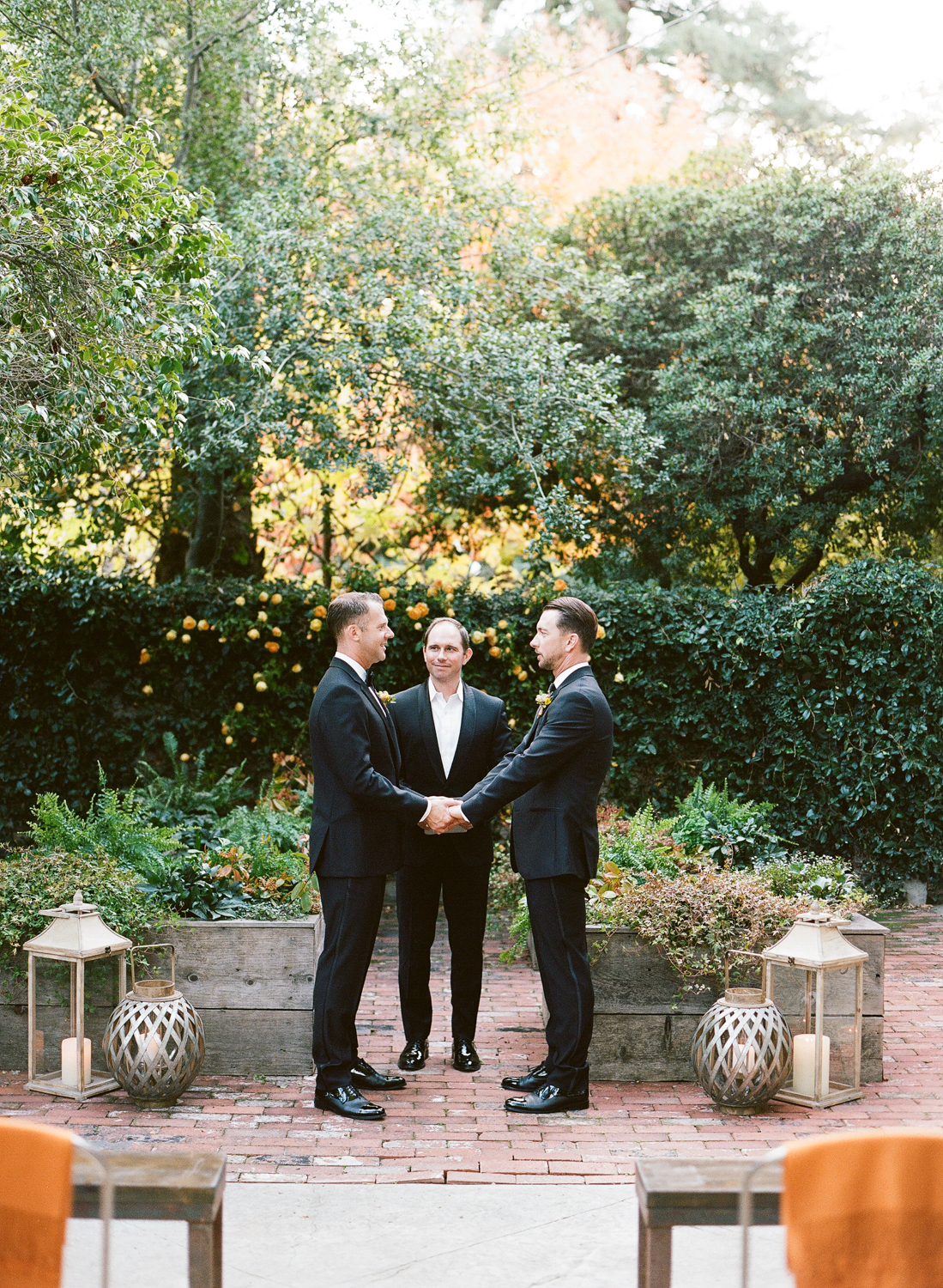 Two grooms getting married at a private ceremony in St. Helena, California; Sylvie Gil Photography