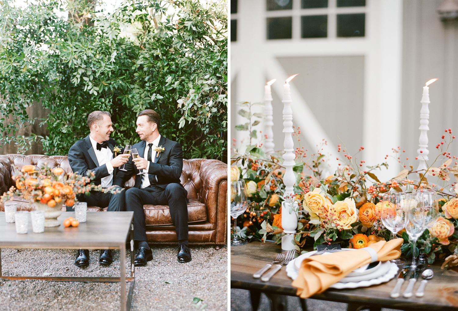 Grooms toast champagne after their wedding in St. Helena, California; Sylvie Gil Photography