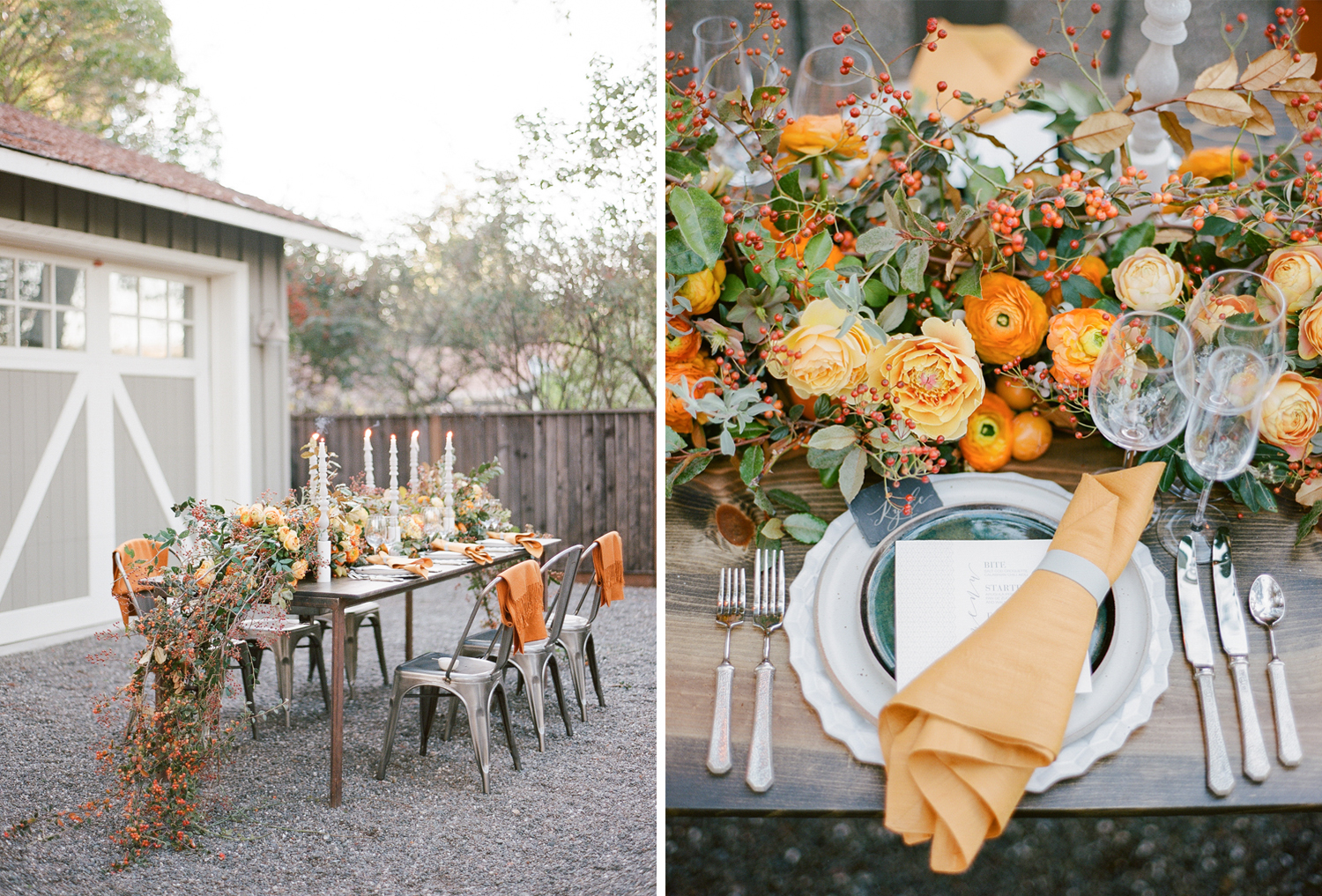 Max Gill foraged reception florals including persimmon branches and orang ranunculus; Sylvie Gil Photography