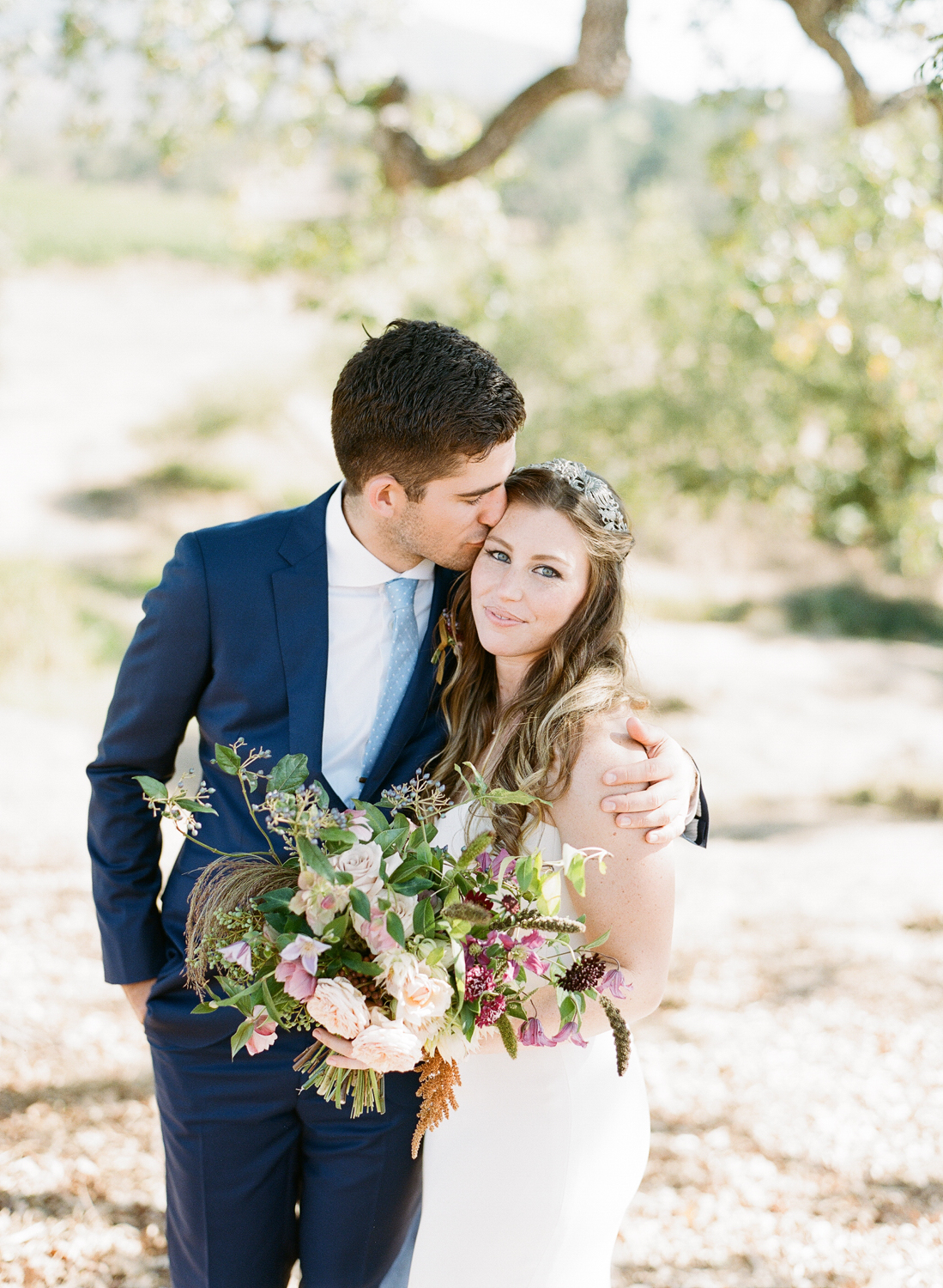 Bride and groom portrait in Napa Valley before their wedding; Sylvie Gil Photography