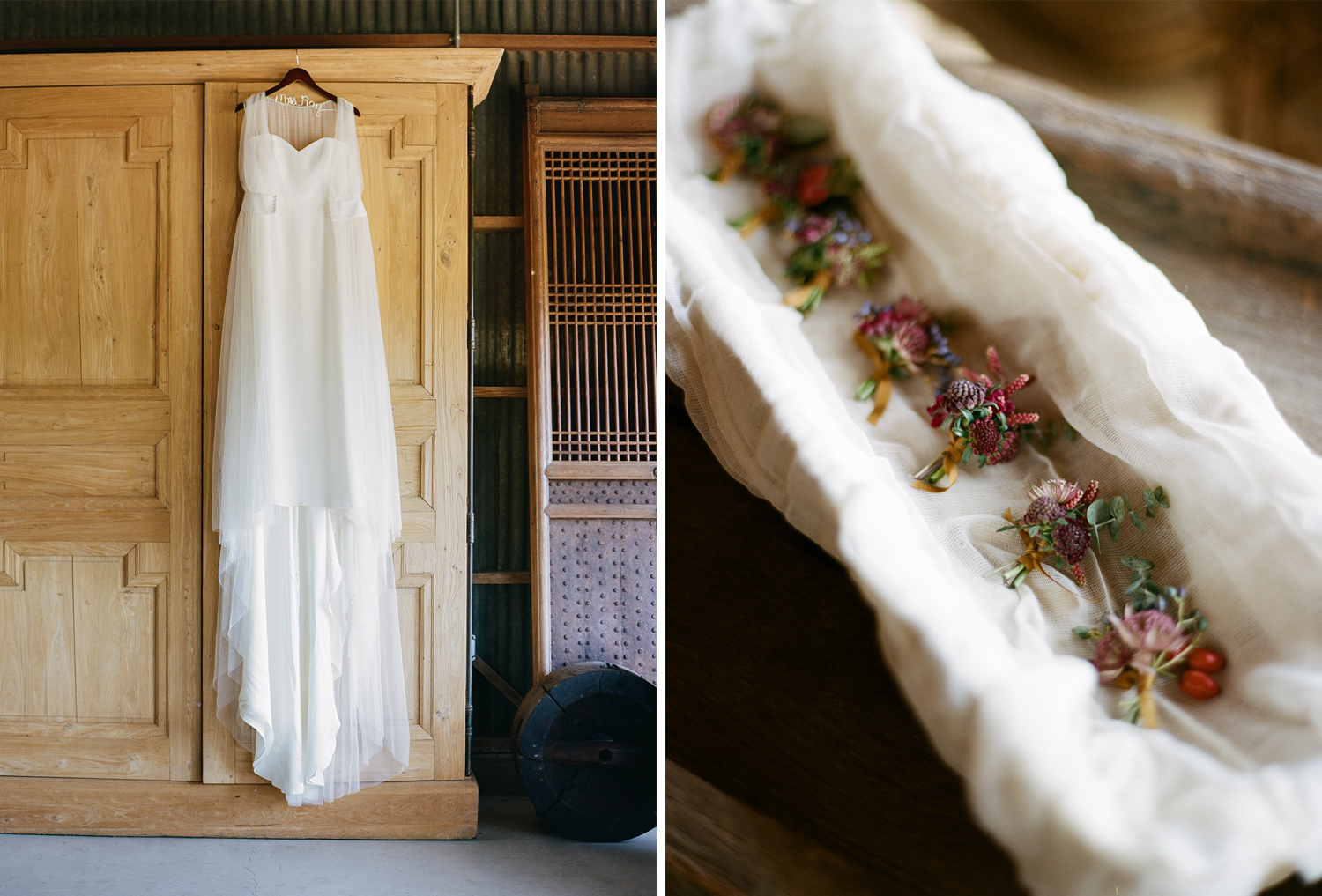 Rustic boutonnieres and the bride's gown; Sylvie Gil Photography